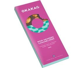 Tablette chocolat noir 65% cacao et amandes caramélisées - 100g - Okakao