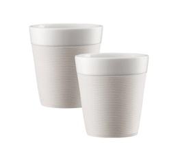 2 tasses Bistro en porcelaine avec bande silicone blanche 17cl - Bodum