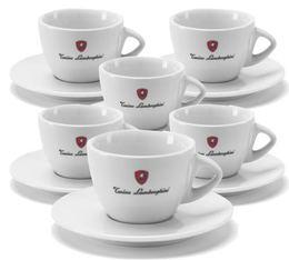 Tonino Lamborghini - 6 Tasses blanches Cappuccino avec sous tasses