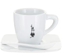 Tasse à café en porcelaine en blanche Bialetti + sous-tasse + cuillère
