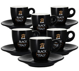 6 Tasses et sous-tasses Black of Italy 7cl - Zicaffè