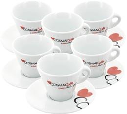 Lot de 6 tasses et sous-tasses cappuccino 15 cl - Cosmaï Caffè