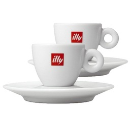 Lot 2 tasses porcelaines Illy Espresso 6 cl + sous-tasses