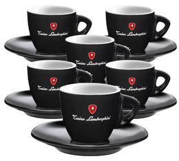 Tonino Lamborghini - 6 Tasses Espresso Noires avec sous tasses