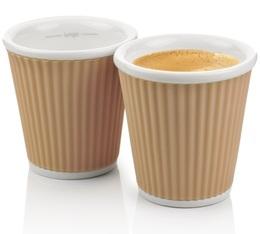 2 tasses en porcelaine avec bandeau en silicone muscade ondulé 10cl - Les Artistes Paris