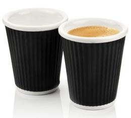2 tasses en porcelaine avec bandeau en silicone noir ondulé 18cl - Les Artistes Paris