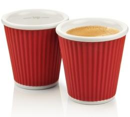 2 tasses en porcelaine avec bandeau en silicone rouge ondulé 10cl - Les Artistes Paris