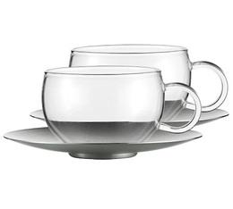 2 Tasses à thé + sous-tasses inox Good Mood 20cl - JENAER
