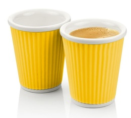 2 x porcelain cups with yellow silicone band - 180ml - Les Artistes Paris