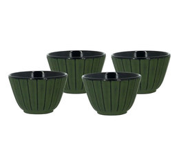 Lot de 4 tasses en fonte verte 12cl - The kitchenette