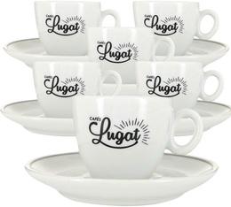 6 tasses expresso et sous-tasses porcelaine - 8 cl - Cafés Lugat
