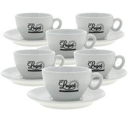 Cafés Lugat Set of 6 Latte Cups and Saucers - 29cl