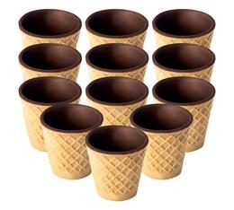 Boite de 12 tasses medium en gaufre et chocolat - Chocup