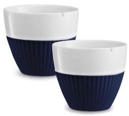 VIVA Scandinavia 'Anytime' porcelain tea cups with dark blue silicone sleeve - 250ml