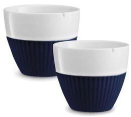 Lot de 2 tasses en porcelaine et manchon silicone bleu foncé VIVA Scandinavia - 25 cl