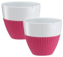 Lot de 2 tasses en porcelaine et manchon silicone fushia VIVA Scandinavia - 25 cl