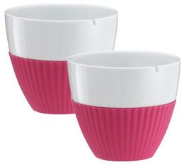 VIVA Scandinavia 'Anytime' porcelain tea cups with pink silicone sleeve - 250ml