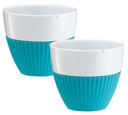 Lot de 2 tasses en porcelaine et manchon silicone turquoise VIVA Scandinavia - 25 cl