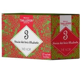 Thé noir fraise des bois, rhubarbe en sachet- Maison Taillefer - boîte de 20 sachets
