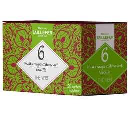 Thé vert fruits rouges citron vert en sachet- Maison Taillefer - boîte de 20 sachets
