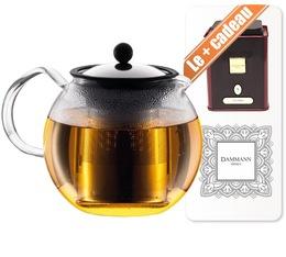 Théière à piston 1L inox/verre Assam - Bodum + boite de thé collection Dammann offerte