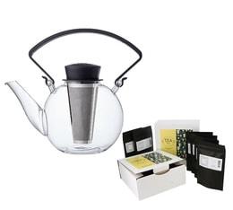 Théière Tea 4 U en verre 1L avec poignée noire QDO + Coffret de thés Tea-Time