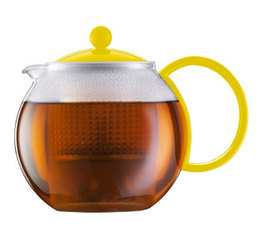 1L Assam tea press with yellow acrylic infuser, handle and lid. -  Bodum