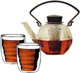 Théière Tea 4 U en verre 1L avec poignée noire + 2 verres BoisQDO