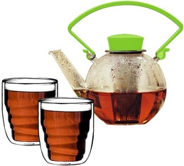 Tea4U glass teapot in green with infuser + 2 glasses & Free Tea