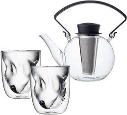 Théière Tea 4 U en verre 1L avec poignée noire + 2 verres Terre QDO