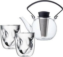 Tea4U glass teapot in black with infuser + 2 Earth glasses & Free Tea