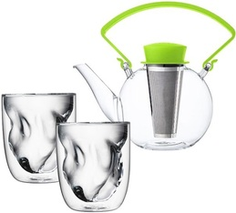 Théière Tea 4 U en verre 1L avec poignée verte + 2 verres Terre QDO