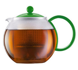 1L Assam tea press with green acrylic infuser, handle and lid. -  Bodum
