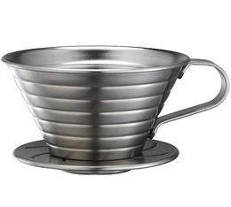 Dripper Tiamo K02 à fond plat en inox - 2 tasses