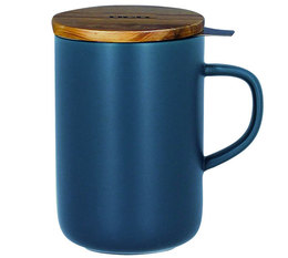 OGO Living Blue stoneware large tea infusing mug with wooden lid - 475ml