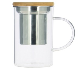 Glass mug with tea infuser and bamboo lid- 39cl - OGO Living