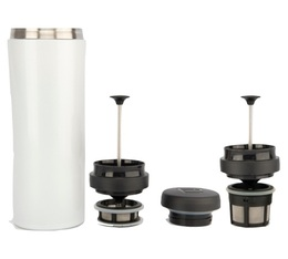 Mug travel press blanc avec filtre à café + thé - 35cl - Espro
