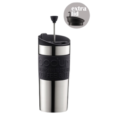 Mug isotherme inox Travel Press 35 cl noir - 2 couvercles (Piston & Clapet) - Bodum
