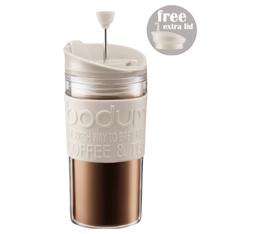 Travel Press 2 couvercles (piston et clapet) Bodum blanc crème en plastique double paroi - 35 cl