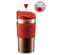 Travel Press 2 couvercles (piston et clapet) Bodum rouge en plastique double paroi - 35 cl