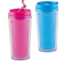 Pack 2 Mugs isothermes On the go opaque fuchsia +bleu aqua Zak Designs