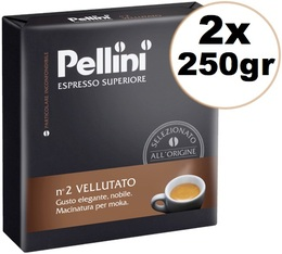 Café moulu Pellini Espresso supérieur N°2 Vellutato 2x250g