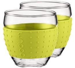 2 Verres BODUM PAVINA bande silicone verte citron 35cl