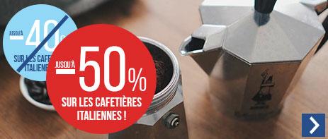 Jusqu'à -50% sur les cafetières italiennes