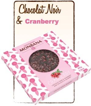 tablette chocolat noir cranberry monbana