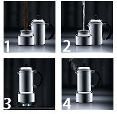 cafeti re italienne bodum chambord en inox 6 tasses. Black Bedroom Furniture Sets. Home Design Ideas