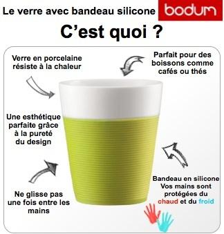 2 mugs bistro en porcelaine avec bande silicone verte 30cl bodum. Black Bedroom Furniture Sets. Home Design Ideas