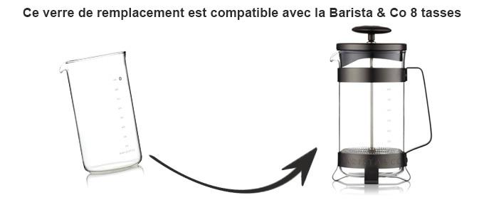 verre de rechange pour piston Barista & Co
