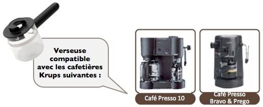 verseuse remplacement pot espresso noire krups